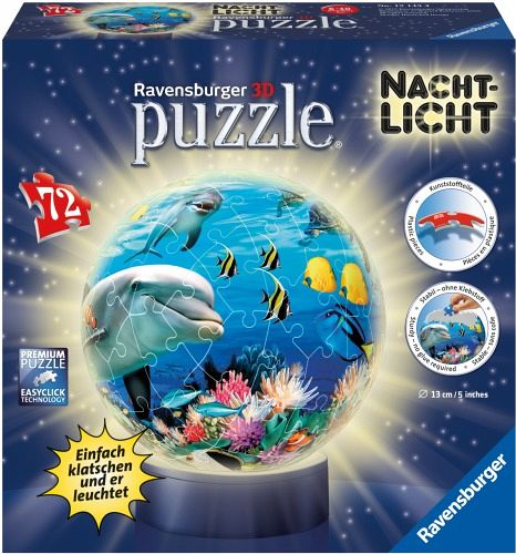 Ravensburger 12143 - Nachtlicht Unterwasser, 3D puzzleball®, 72 Teile
