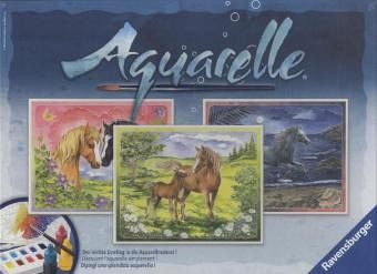 Ravensburger 29468 - Aquarelle Maxi, Glückliche Pferde, Bildgröße 30 x 24 cm