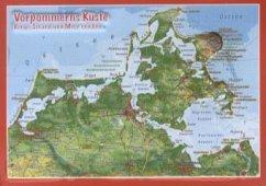 Reliefpostkarte Vorpommern Küste