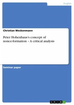 Peter Hohenhauss concept of nonce-formation - A critical analysis