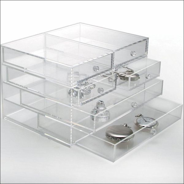 acryl schmuckbox mit 6 schubladen format ca 165 x 215 x 140 mm. Black Bedroom Furniture Sets. Home Design Ideas