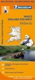 Michelin Karte Wales, England Süd-West, Midlands; Wales, South West England, Midlands