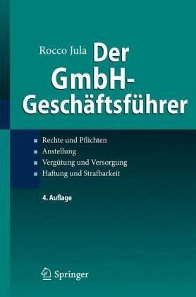 Der Gmbh Geschäftsführer Von Rocco Jula Fachbuch Bücherde