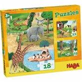 HABA 4960 - Puzzles Tiere, Kinderpuzzles ab 3 Jahren mit 3 Puzzle-Motive