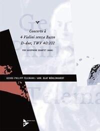 Concerto à 4 Violini senza Basso TWV 40:202, 4 Alt-Saxophone, Partitur und Stimmen