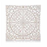 Wand-Deko Holz-Ornamentik Weiß