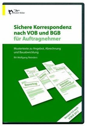 sichere korrespondenz nach vob und bgb f r auftragnehmer 2012 cd rom software b. Black Bedroom Furniture Sets. Home Design Ideas