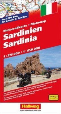 Hallwag Motorradkarte Sardinien MotoMap 1:275 000 / 1:650 000; Sardinia; Sardegna; Sardaigne
