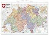 Stiefel Wandkarte Kleinformat Schweiz, Postleitzahlen, mit Metallstäben; Suisse; Svizzera
