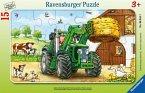 Ravensburger 06044 - Traktor auf dem Bauernhof, Rahmenpuzzle, 15 Teile