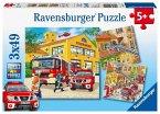 Ravensburger 09401 - Feuerwehreinsatz, Puzzle, 3x49 Teile