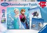Ravensburger 09264 - Disney Frozen, Abenteuer im Winterland, 3 x 49 Teile Puzzle