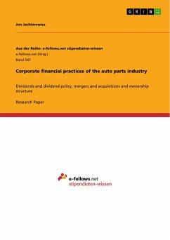 Corporate financial practices of the auto parts industry