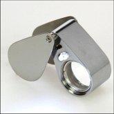 Präzisionslupe aus Metall, mit Beleuchtung, 30-fache Vergrößerung