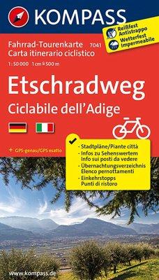 KOMPASS Fahrrad-Tourenkarte Etschradweg - Ciclabile dell'Adige