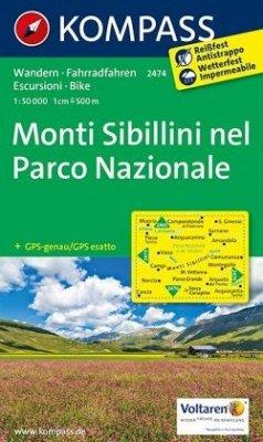 KOMPASS Wanderkarte Monti Sibillini nel Parco Nazionale