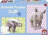 Schmidt Spiele 56107 - Zookinder, Puzzle, 2x26 Teile