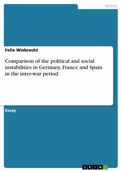Comparison of the political and social instabilities in Germany, France and Spain in the inter-war period