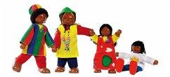 Goki 51817 - Biegepuppen Afrikanische Famile, 4...