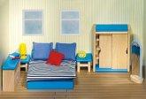 Goki 51906 - Puppenmöbel Schlafzimmer für Puppenhaus, 14 teilig, Holz