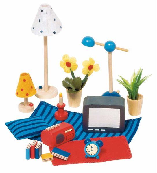 goki 51934 accessoires wohn und schlafzimmer f r puppenhaus. Black Bedroom Furniture Sets. Home Design Ideas