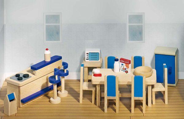 goki 51907 - puppenmöbel küche für puppenhaus, 30-teilig, holz