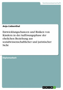 Entwicklungschancen und Risiken von Kindern in der Auflösungsphase der ehelichen Beziehung aus sozialwissenschaftlicher und juristischer Sicht (eBook, PDF)