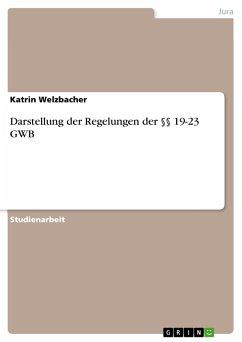 Darstellung der Regelungen der §§ 19-23 GWB (eBook, PDF) - Welzbacher, Katrin