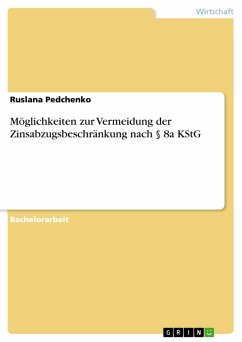 Möglichkeiten zur Vermeidung der Zinsabzugsbeschränkung nach § 8a KStG (eBook, PDF)