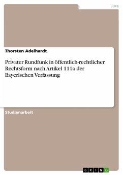 Privater Rundfunk in öffentlich-rechtlicher Rechtsform nach Artikel 111a der Bayerischen Verfassung (eBook, PDF)