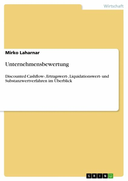 unternehmensbewertung ebook pdf von mirko laharnar portofrei bei b. Black Bedroom Furniture Sets. Home Design Ideas
