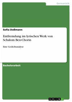 Entfremdung im lyrischen Werk von Schalom Ben-Chorin (eBook, PDF)