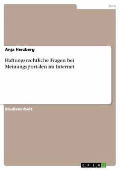 Haftungsrechtliche Fragen bei Meinungsportalen im Internet (eBook, PDF)