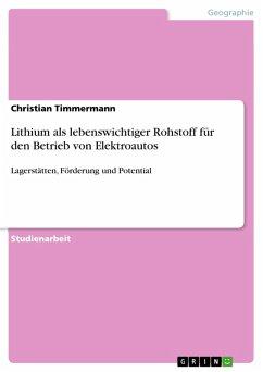 Lithium als lebenswichtiger Rohstoff für den Betrieb von Elektroautos (eBook, PDF)