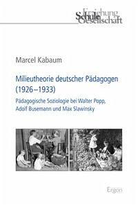 Milieutheorie deutscher Pädagogen (1926-1933)