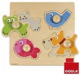 Goula D53116 - Holzpuzzle Haustiere, 4 Teile