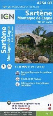 Korsika Sartène - Montagne de Cagna - Parque National de la Corse 1 : 25 000