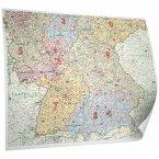 Bacher Postleitzahlenkarte Deutschland Süd, Posterlandkarte beschichtet