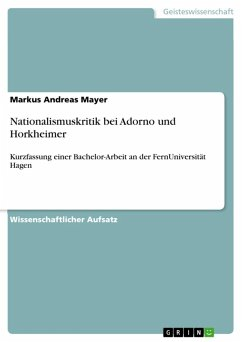 Nationalismuskritik bei Adorno und Horkheimer (eBook, ePUB)