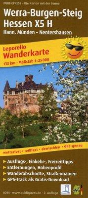 PublicPress Leporello Wanderkarte Werra-Burgen-Steig Hessen X5 H, Hann. Münden - Nentershausen