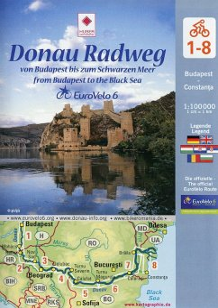 EuroVelo 6: Donau Radweg (Budapest - Schwarzes Meer) 1: 100 000, 8 Teile