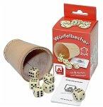 Nürnberger Spielkarten 8004 - Würfelbecher Leder mit 6 Würfeln und Anleitung in Faltschachtel