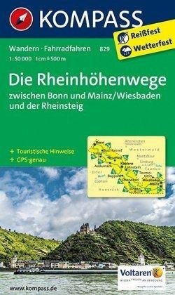 Kompass Karte Die Rheinhöhenwege zwischen Bonn und Mainz/Wiesbaden und der Rheinsteig