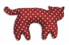 Katze Feline stehend groß Polka dot red / Midni...
