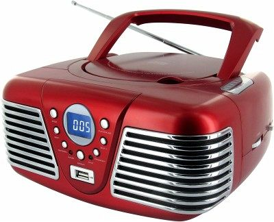 tragbares stereo cd radio cd34usb im retro look der f nfziger rot. Black Bedroom Furniture Sets. Home Design Ideas