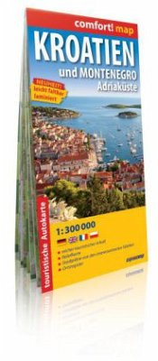 Comfort! map Kroatien und Montenegro, Adriaküste