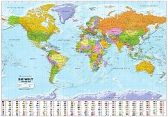 Politische Weltkarte mit Flaggen, Planokarte