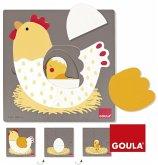Goula D53027 - 3 Stufen Huhn, Holzpuzzle 7-teilig