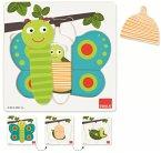 Goula D53121 - Holzpuzzle 3 Stufen Schmetterling, 8-teilig
