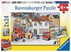 Ravensburger 08851 - Bei der Feuerwehr, Puzzle 2 x 24 Teile